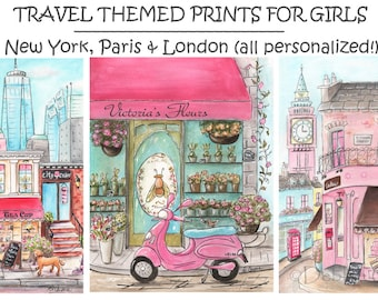 Paris, London, New York, City Art Prints, Personalized With Girl's Name, Travel Themed Girl's Bedroom Wall Art, Unframed Fine Art, 6 Sizes