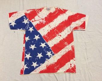 1990s American Flag all over print tee