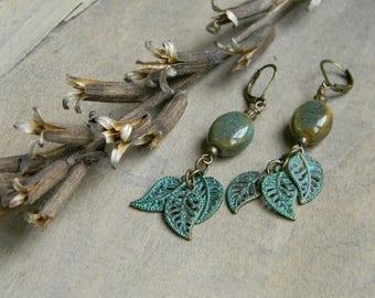 Leaf earrings ceramic bead earrings beaded jewelry gift for nature lover long dangle earrngs green blue unique gift for her beaded earrings