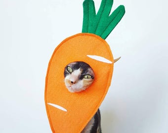 Carrot hat costume for Spring, Easter cat dog or small pet costume in soft orange felt