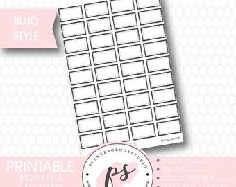 Bullet Journal Bujo Half Boxes Printable Planner Stickers | JPG/PDF/Silhouette Cut Files