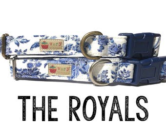 "Vintage Dog Collar - Floral Dog Collar - Girl Dog Collar - Shabby Chic Dog Collar - Antique Metal Hardware - ""The Royals"""