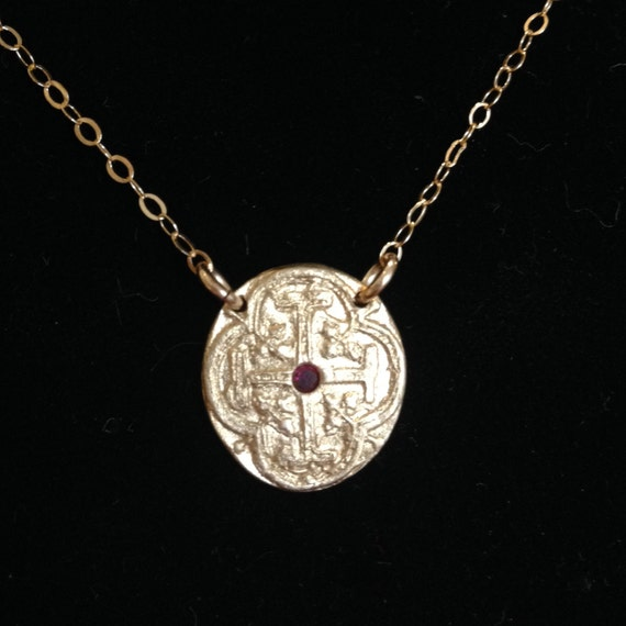 Bronze Mini Medallion with Ruby and 14K Gold Filled Chain Necklace