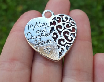 2 Mother and Daughter Forever Heart Charms B61524