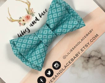Teal Patterned Clip On Bow Tie | Baby | Toddler| Child