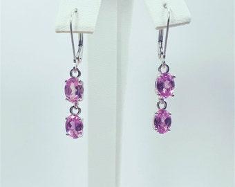 Sterling Silver Lab Pink Sapphire Dangle Earrings