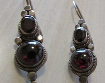 Sterling Silver and Garnet Dangle Wire Earrings