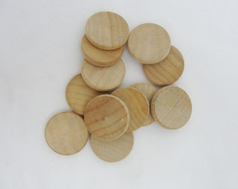 "25 wooden discs, .75 inch wood circle, .75""  (3/4"") wood disk 1/8"" thick unfinished DIY"