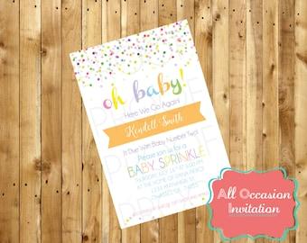 Oh Baby Sprinkle Shower Invite; Printable; Digital File