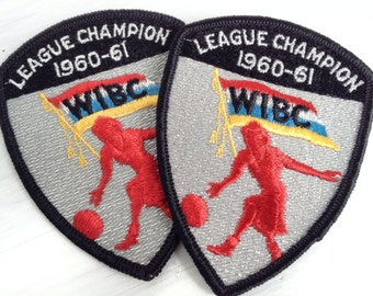 One vintage bowling patch, embroidered 1960 - 1961 WIBC women's league champion honor emblem, 1960s, red, silver, black, flag, shield