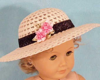 18 inch Doll Chic Straw Hat With Black Sparkle Band with  Pink Flowers