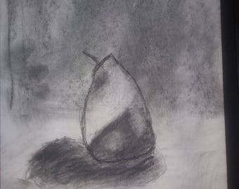 Pear I: Handmade Original Charcoal Drawing