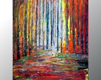 Spring Fall Landscape Oil Painting original painting on Canvas Birch Trees Season