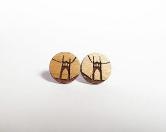 St Johns Bridge Mini Post Earrings