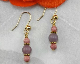 Pink Rhodonite and Lilac Stone Natural Gemstone Earrings