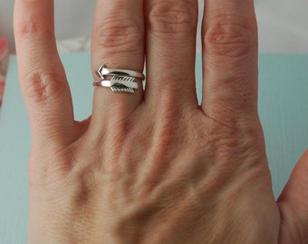 Sterling Silver Arrow Ring/ Adjustable
