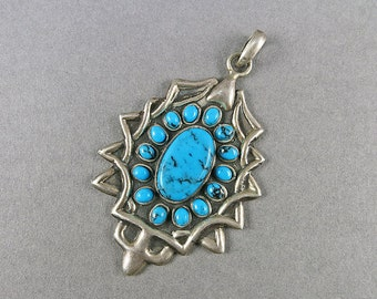 Vintage Turquoise Pendant In Sterling Silver Pendant Vintage Jewellery