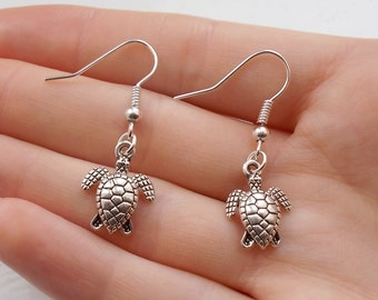 turtle earrings silver earrings handmade earrings animal jewellery fashion earrings silver jewellery drop earrings turtle jewellery gift her
