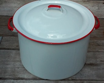 Vintage White Enamel Double Handled Pot Red Rim Dutch Oven With Cover And Handles Rustic Country Kettle White and Red Farmhouse Kitchen