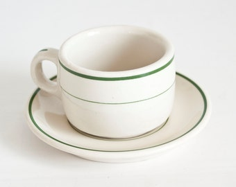 Vintage Tepco Green Stripe Cup and Saucer, Restaurant Ware Teacup Short Coffee Cup, Heavy Ironstone, Tepco China California