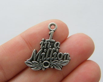 2 1 in a million charms antique silver tone M775