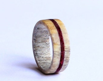 Deer Antler Ring, Wedding Ring With Purple Wood Inlay,  Deer Antler Wedding Band