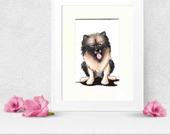 Keeshond Dog Original Art Illustration 5x7