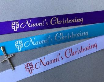 Christening Personalized Stamped Satin Ribbon 10 yards
