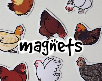 Cute  Decorative Chicken Magnets! Pack of 8