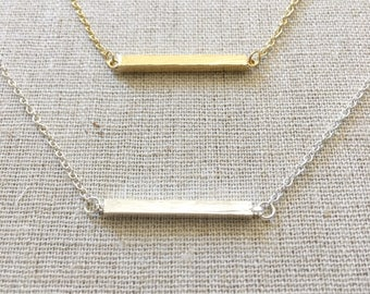 Bar Necklace, Silve Bar Necklace, Gold Bar Necklace, Dainty Necklace, Delicate Necklace, Bridesmaid gift, Birthday gift