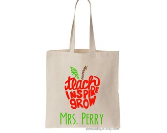 Teacher Appreciation Gift, Teacher Tote Bag, New Teacher Gift, Personalized Tote Bag, Gift for Teacher, Teacher Bag, Canvas Tote Bag