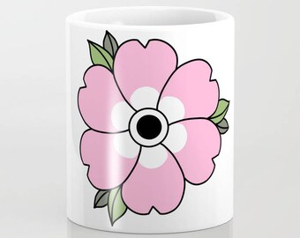 Flower Coffee Mug -  Ceramic Mug - Large Pink Flower - 11oz - 15oz - Made to Order