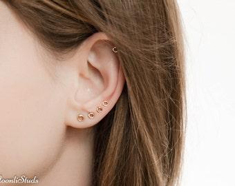 MOTHER DAY SALE - Tiny Stud Earrings set - Helix Stud Earring - Multiple piercing - Circle earings studs set - Tiny earrings studs