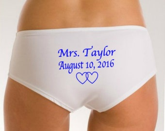 Mrs Underwear, Bridal Panties, Bridal Lingerie, Name Date on Rear, Something Blue Wedding Panties, Wedding Lingerie, Newly Engaged, Bride