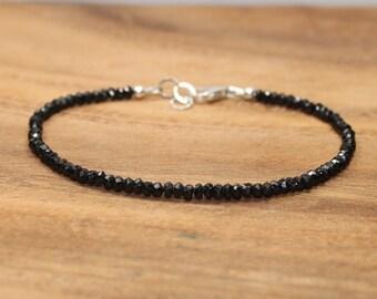 Black Spinel Bracelet, Black Spinel Jewelry, Sterling Silver, Minimalist, Layering Bracelet