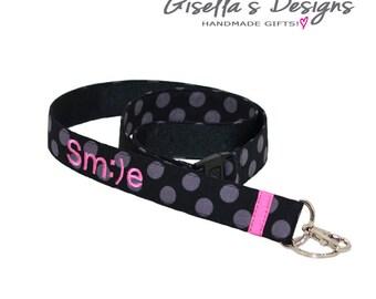 Black and Hot pink Breakaway Lanyard, Personalized Badge Lanyard ID Holder, Key Chain Lanyard, Custom smile lanyard, gift under 30.