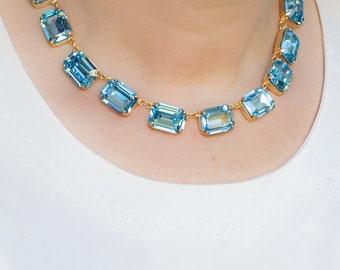 Aquamarine Anna Wintour Necklace, Crystal Collet, Riviere, Swarovski Necklace, Georgian Collet, Reproduction Georgian Necklace