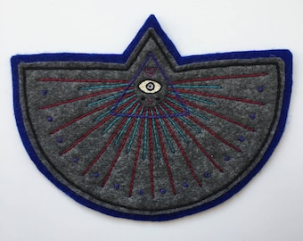 Hand Embroidered Patch, Masonic Inspired. Acrylic Polyester Blend Felt Sew On Patch. Magic, Eye, Symbolism. Made to Order- 5 1/4 x 7 1/8