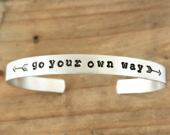 Go Your Own Way Cuff Bracelet with Arrows- Inspiration Bracelet- International Womens Day Jewelry. Travel Gift for Her- Stacking Cuff