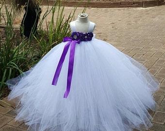 White purple Flower girl Tutu  Dress  Birthday, Wedding, Photo Prop,choose your dress color