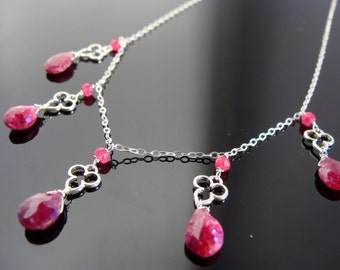Genuine Ruby Sterling Silver Necklace