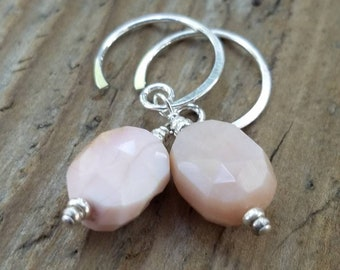 Pink Peruvian Opal Earrings and Sterling Silver, October Birthstone, Artisan Jewelry, Hill Tribe Silver, Opal Jewelry, Pink Opal Earrings