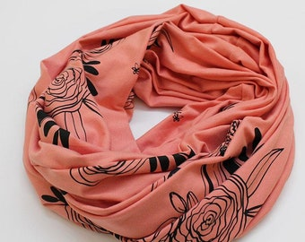 Infinity Scarf - Peach Floral