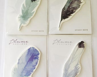 Feather Sticky Note Pads in 4 Designs