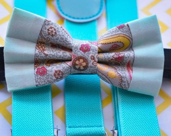 Kids Mint Green Paisley Bow Tie with Suspenders / Braces  for Baby, Toddlers and Boys - Wedding / Cake Smash / Birthday / Christening