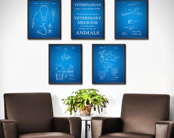 Veterinarian Office Wall Art - SET OF 5 - Vet Office Wall Decor, Gifts for Veterinarians, Veterinary Technician - 1906