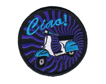 Scooter Ciao! Patch Moped Travel Greeting Saying Embroidered Iron On Applique