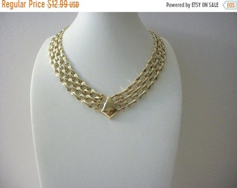 ON SALE Retro Gold Tone Connecting Panel Links Metal Collar Necklace 41818