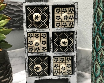 Apothecary Spice Cabinet 6 Ceramic Drawer Herb Storage Box Black & White, Unique Jewelry Box Shabby Chick Style, Item #593161528