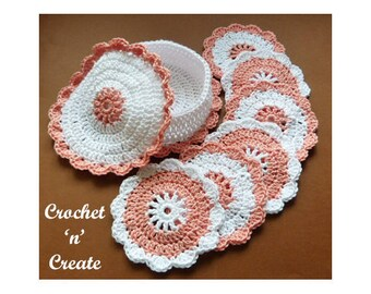 Crochet Coasters and Coaster Basket Crochet Pattern (DOWNLOAD) P44